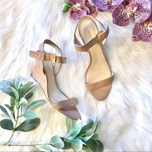 NINE WEST Kiani Nude Tan Cork Wedge Ankle Sandals